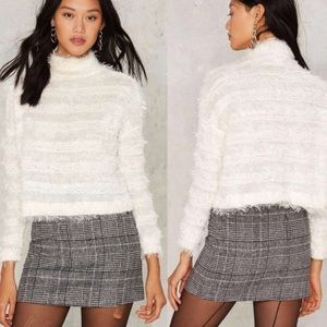 "Nasty Gal ""after party"" fuzz off sweater."
